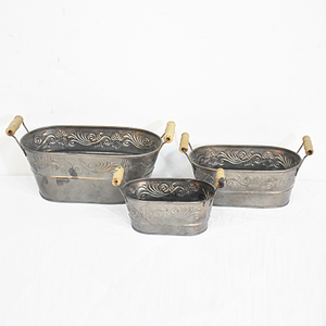 Set 3 Shabby Chic Rustic Garden Metal Tin Flower Pot