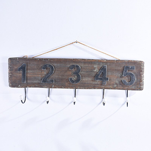 Redaimed Old Aged Numbered Industrial Wooden Coat & Hat Rack