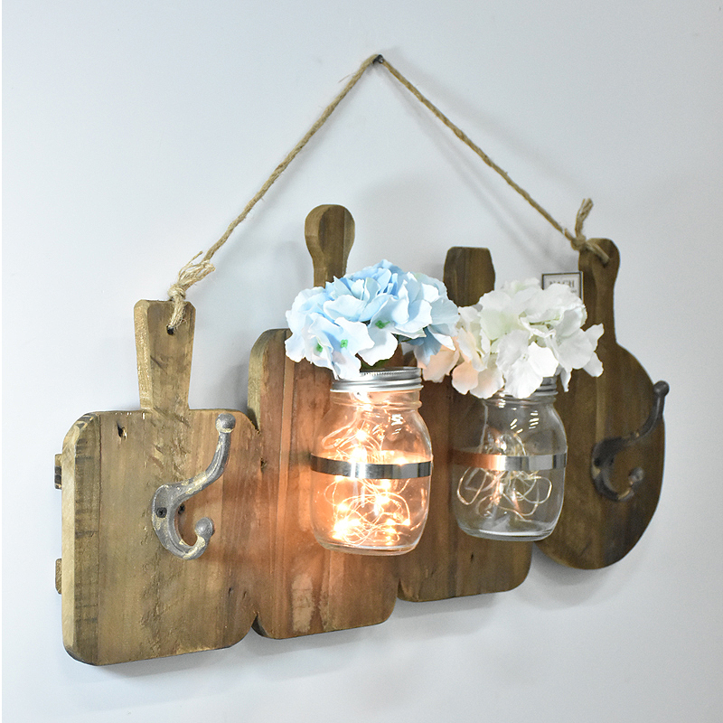 Rustic Reclaimed Barn Cuting board wood signs With A Lighted Glass Jar Vase