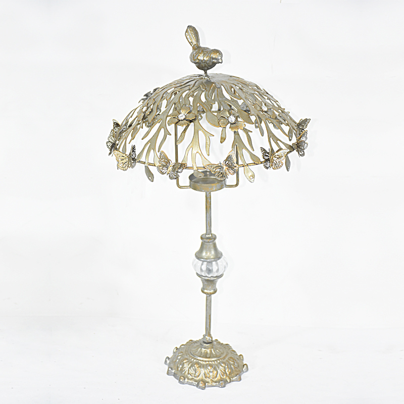 Antique Brass Look Standing Metal Umbrella Tea Light Candle Holder with Bird