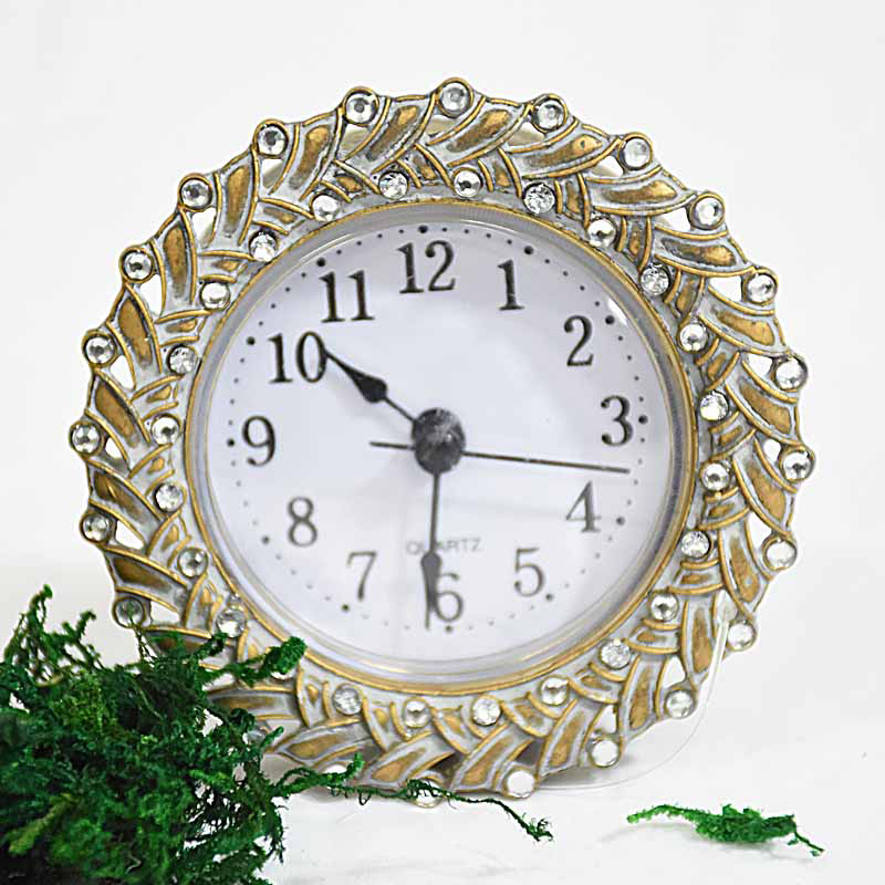 Vintage Antique Small Decorative Metal Desk Clock