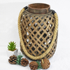 Old World Rustic Wooden Bamboo Lantern Candle Holder with Hemp Rope