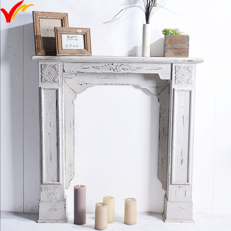 Shabby Chic Antique Vintage Indoor Freestanding Decorative Wooden Fireplace