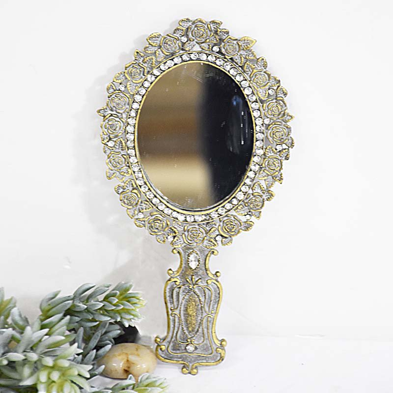 Antique Vintage Style Terne Metal Hand Held Mirror
