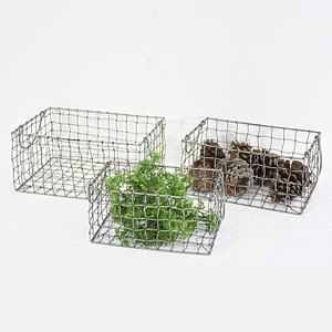 Vintage Rustic Small Metal Wire Mesh Basket With Handle