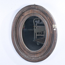 Rustic Farmhouse Distressed Oval Wooden Wall Mirror