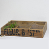 Farmhouse Rustic Vintage Recycled Wooden Divided Tray with Center Handle