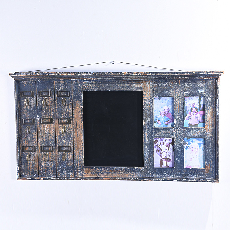 Shabby Chic Black Wall Rack Chalkboard with Hook And Photo Frame