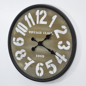 """23"" Round Metal & Wood Clock Black/White"