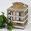 Vintage Rustic Square Wooden Lantern with LED