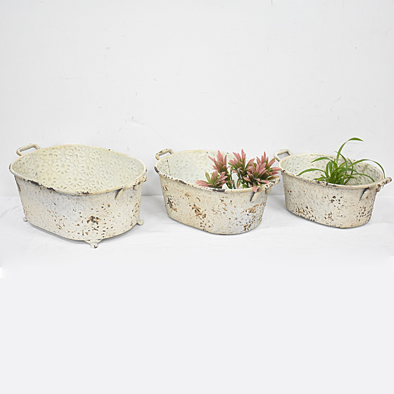 Wholesale Set of 3 Shabby Chic Metal Planter Flower Pot
