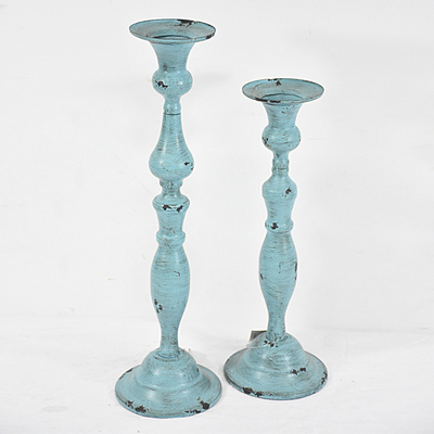 Shabby Chic Country Style Antique Candlestick Holders