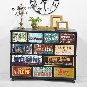 Wholesale Shaaby Chic Vintage Multicolor Drawer Wood Living Room Furniture