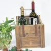 Natural Farmhouse Style Wooden Beer Bottle Crates with Metal Handle