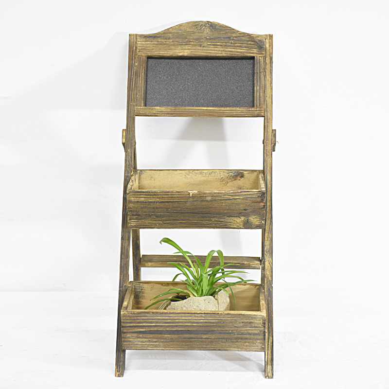 Vintage Shabby brown Small Wooden Flower Pot Stand with blackboard