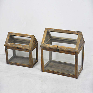 Shabby Chic Wood Framed Home Indoor Mini Glass Greenhouse