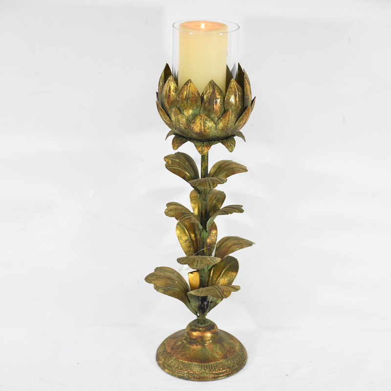 Shabby Chic Retro Flower Shape Metal Candle Stand