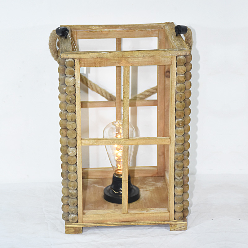 vintage rustic style natural wooden lantern with LED