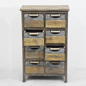 8 Drawer Vintage Old Style Reclaimed Wood Cabinet with Galvanized Décor