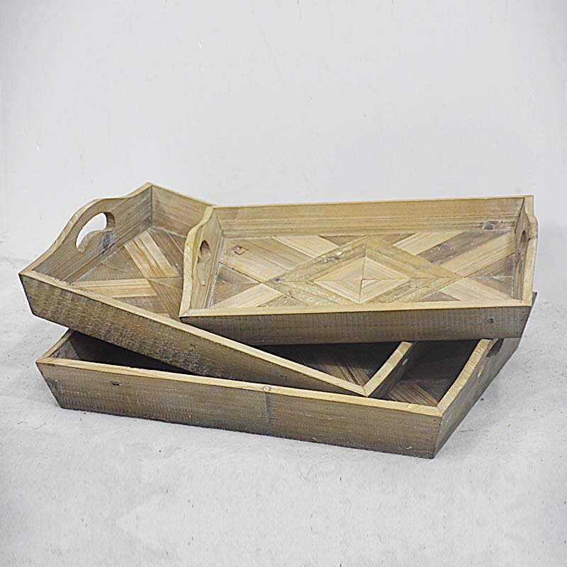 Wholesale Handmade Rectangle Vintage Rustic Wood Serving Trays Sets