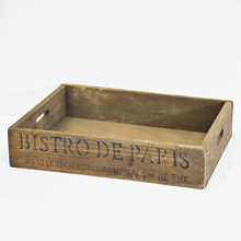 Shabby Chic Rustic Rectangle Wooden storage Tray with Cutout Handles