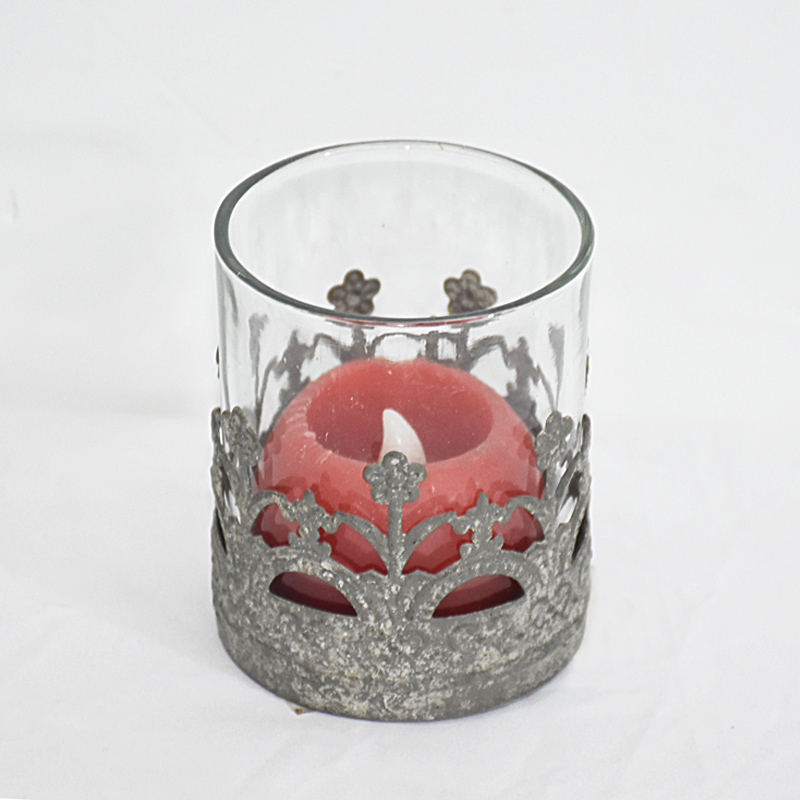 shabby chic grey metal and glass candle holder