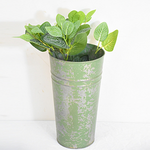 Shabby Chic Green Galvanized Metal Vase