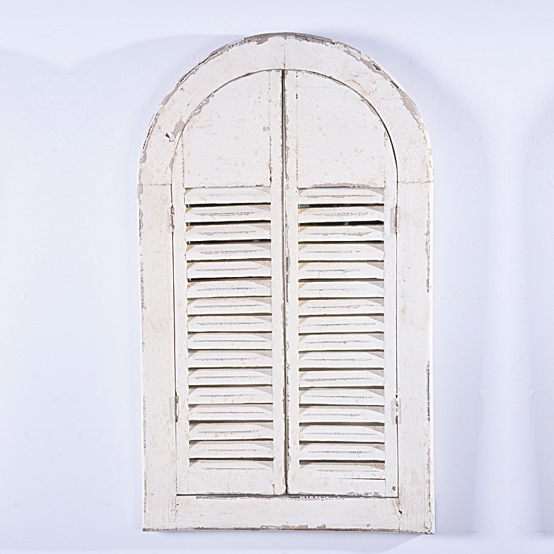 shabby chic vintage Distressed white Wood Frame Mirror with Shutter Doors