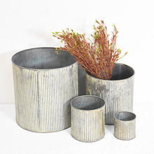 Stackable Set 4 Vintage Retro Sheet Small Metal Buckets