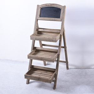 vintage 3 tier wooden display shelf with chalkboard