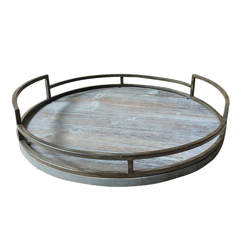 Rustic Farmhouse Kitchen round metal framed Wood Tray