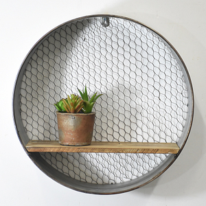 Vintage Farmhouse style Round Floating Wall Shelf