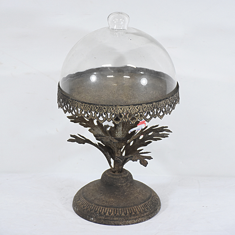 Wholesale Shabby Chic Antique Metal Cake Stand with Cover
