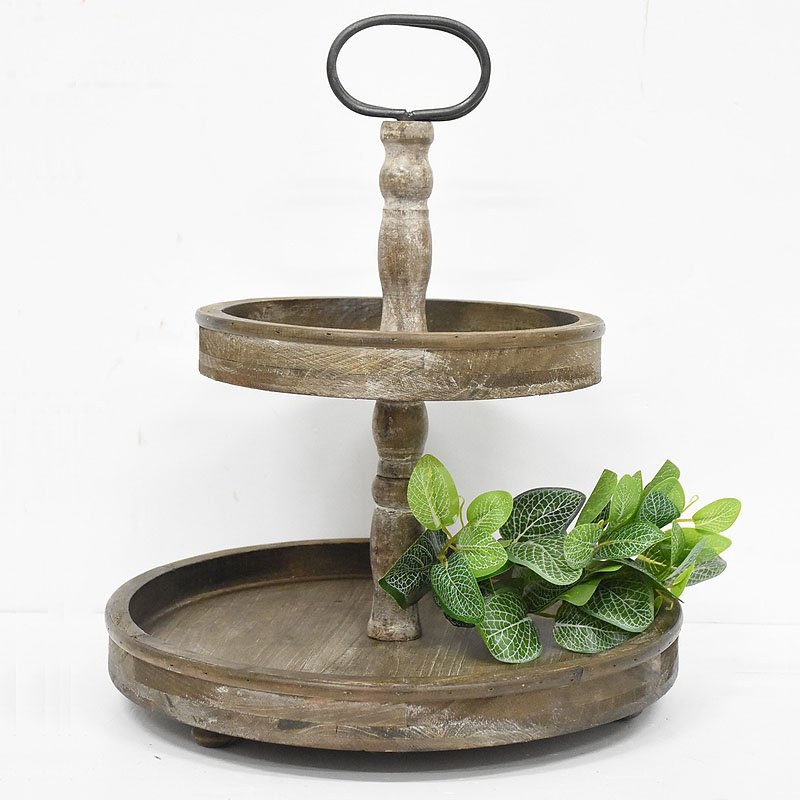 Vintage Rustic Farmhouse Distressed 2 Tired Round Wooden Tray Stand