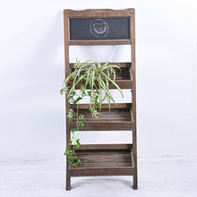 Vintage Rustic Folding Wood Flower Pot Shelf with Chalkboard