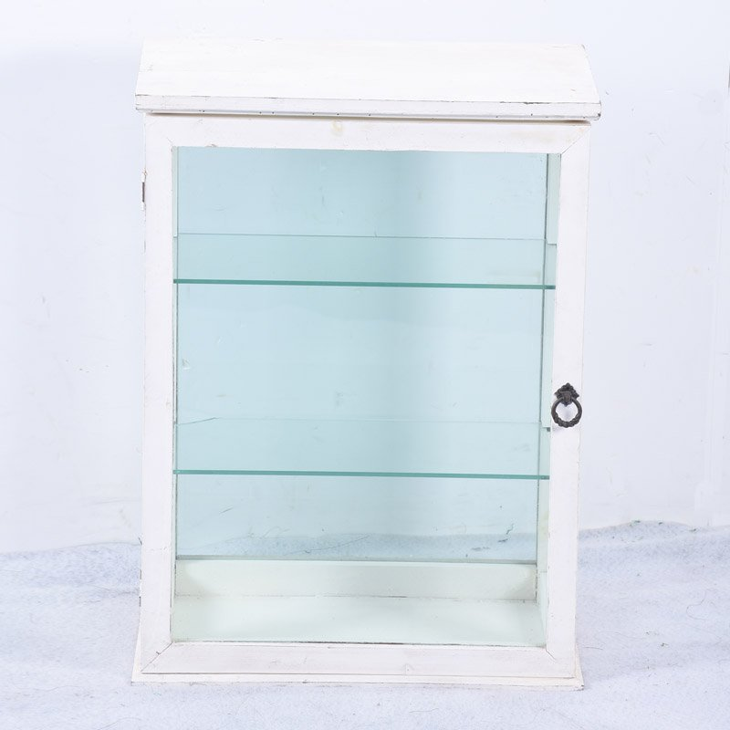 Shabby Chic White Small Wooden Glass Display Cabinet