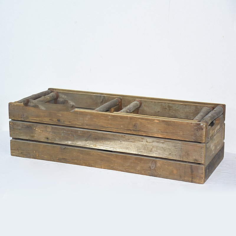 Farmhouse Recycle Handmade Wooden Crate Planter with Branch Handles