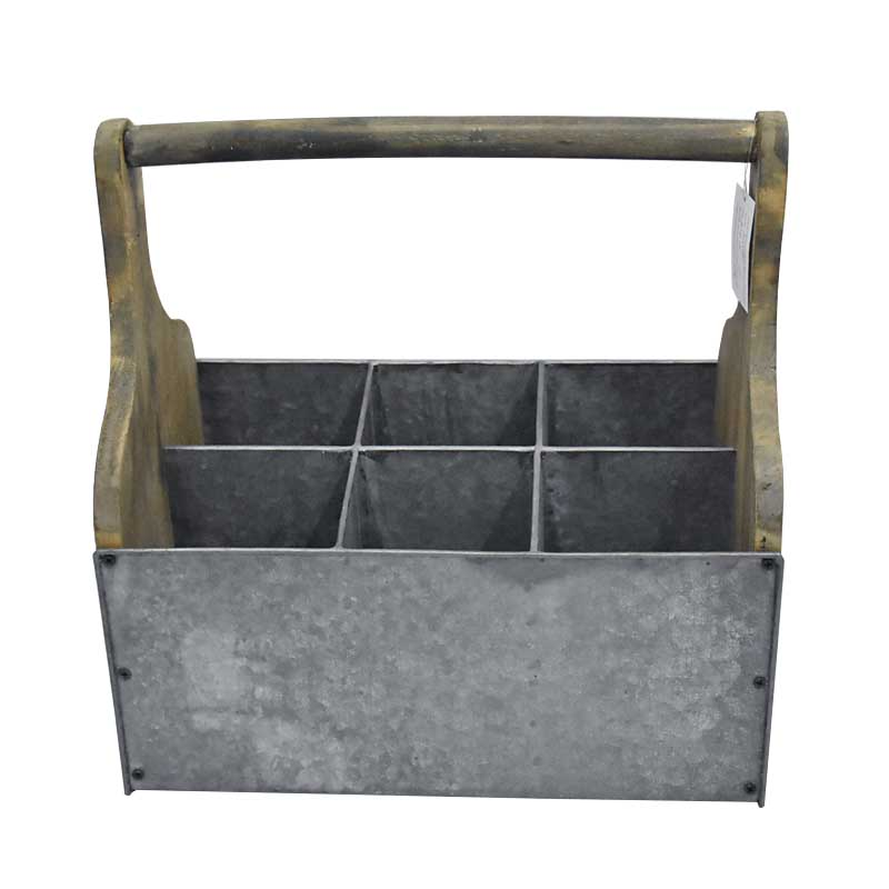 Farmhouse Industrial Wooden Metal Tin 6 Pack Bottle Wine Caddy