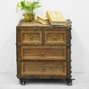 Industrial Vintage Furniture Wooden Drawer Cabinet with Resin Décor