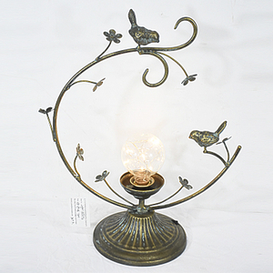 Farmhouse Antique Metal Handmade Desk Led Lamp with bird decor