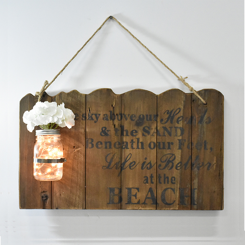 Rustic Reclaimed Barn Wood Plaque Wall Hanging With A Lighted Glass Jar