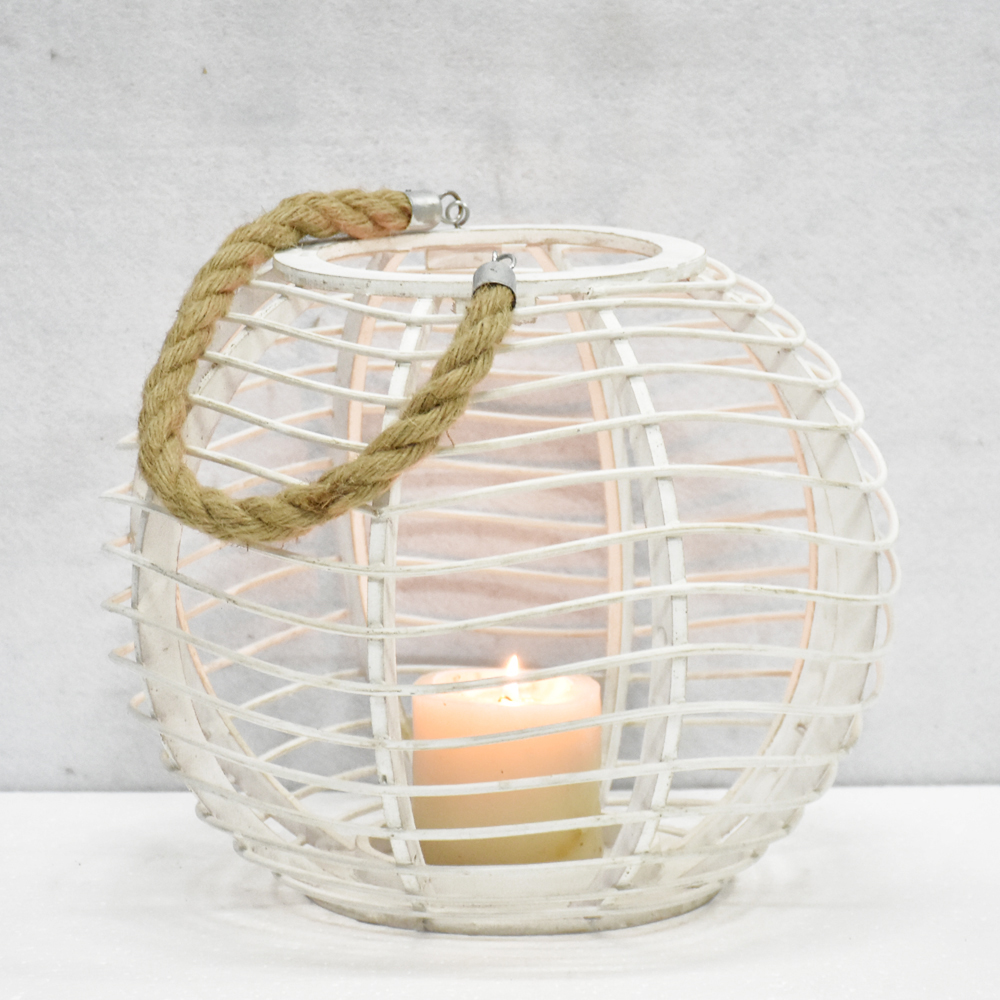 Luckywind Rustic Vintage White Wooden And Bamboo Hurricane Lanterns