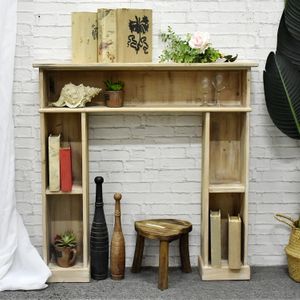 Luckywind Rustic Vintage Natural Solid Fir Wood Unfinished Indoor Fireplace Mantel Shelf