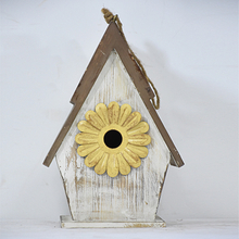 Shabby Chic Rustic White Mini Wooden Birdhouse Kits with Resin Flower