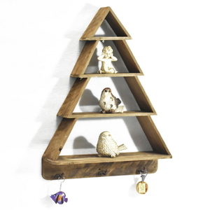 4 Tier Christmas Tree Shape Reproduction Furniture Wooden Wall Shelf Floating, Farmhouse Style Rustic Floating Shelf With Hook