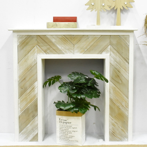 Luckywind Antique Natural Solid Fir Wood Mantel