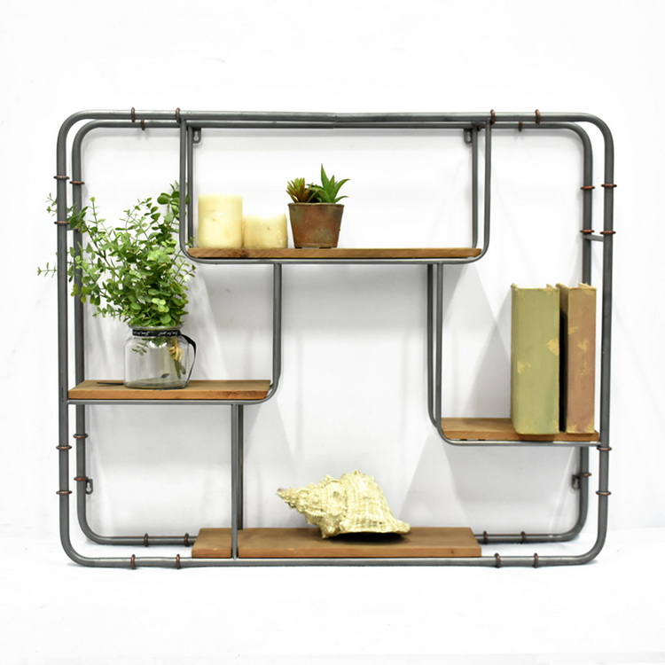 4 Tier Floating Shelves for Kitchen Bedroom Living Room, Industrial Wooden And Metal Display Wall Shelf