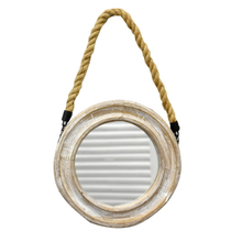 Luckywind Rope Hanging Vintage Rustic Wooden Hand Home Craft decorative Small Round Mirrors